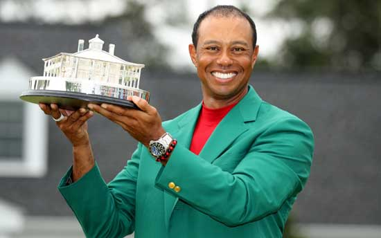 Tiger Woods wins his fifth Masters in one of sport's all-time great comebacks after a 10 year drought.