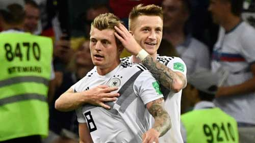 Toni Kroos and Marco Reus spared Germany's World Cup blushes with goals in the second half to seal a 2-1 win over Sweden. Photo credit - skysports