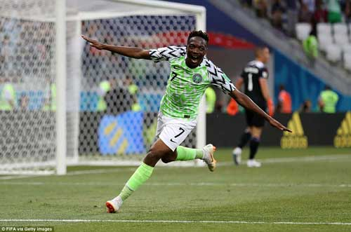 Nigeria's Ahmed Musa celebrates on of his two goals against Iceland.