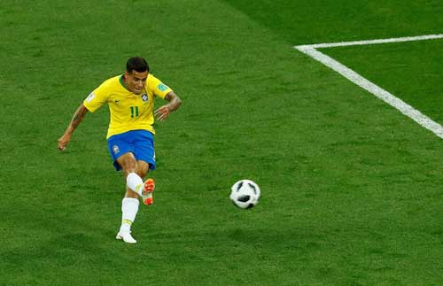 Philippe Coutinho scores the first goal for Brazil from range. Reuters photo