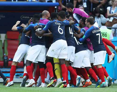 France players celebrate victory over Belgium