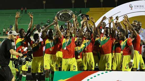 Guinea players celebrate after winning the WAFU Cup Plate final in a penalty shootout over Cape Verde Islands