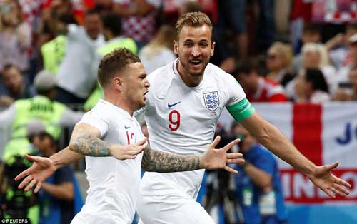 Captain Kane and the goalscorer cannot contain their delight after the Three Lions took an early lead in Moscow