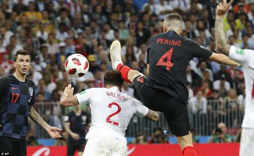 Perisic drifts in front of Kyle Walker and gets his foot ahead of the England defender's head to divert  a cross into the net for the equalizer.