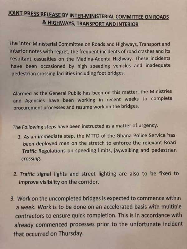 Press Release by Inter-Ministerial Committee on Roads and Highway on N4 Footbridges