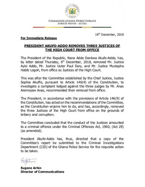 President Akufo-Addo Removes Three Justices Of The High Court From Office