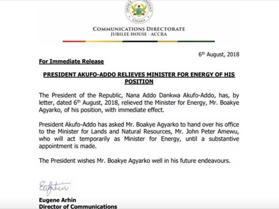 Boakye Agyarko sacked as Energy Minister
