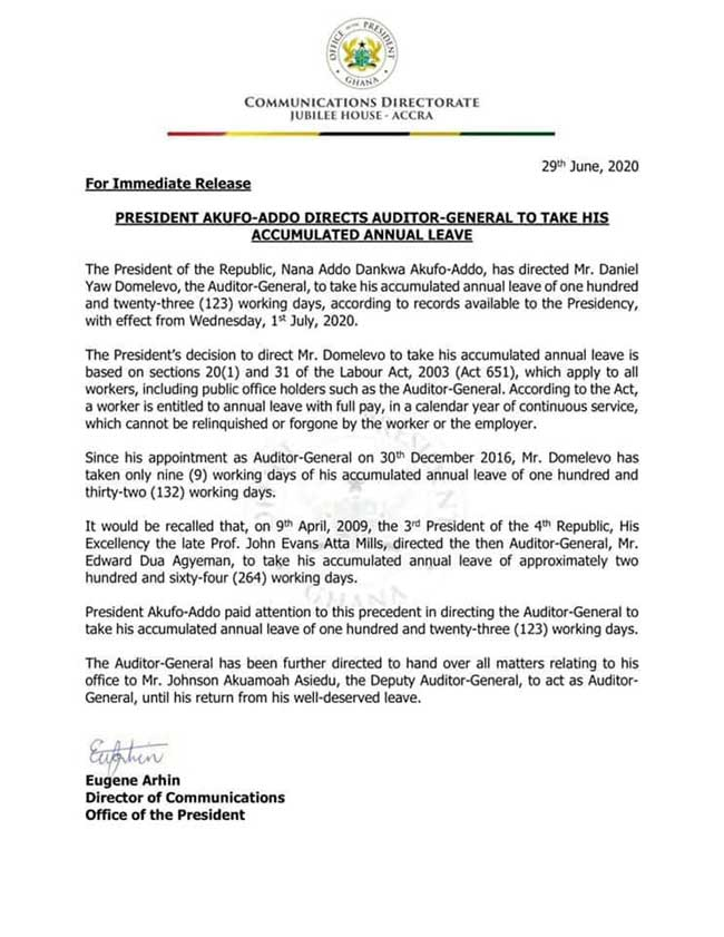 President Akufo-Addo directs Auditor General to proceed on leave