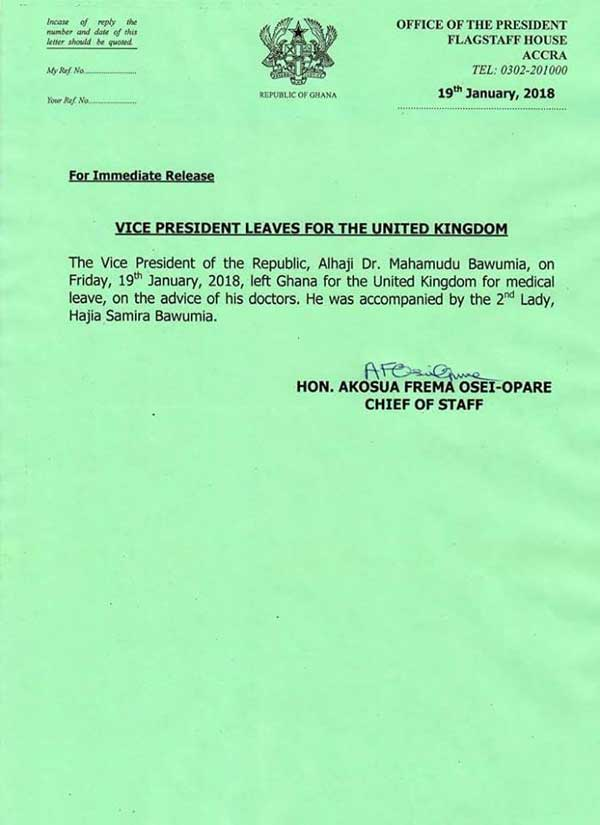 Press Release: Vice President Dr. Bawumia Flown to UK on Medical Leave