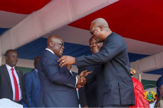 President Akufo-Addo (L) and former president John Mahama exchanging pleasantries in this undated file image